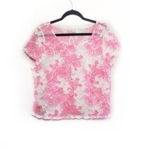 Anthro Meadow Rue Pink Floral Sheer Lace Top